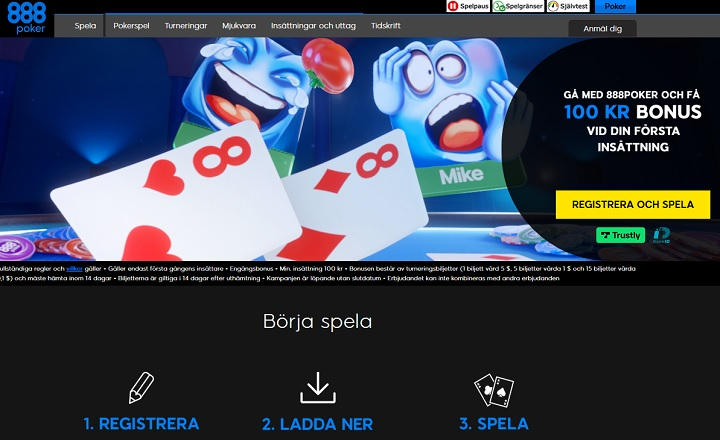 Ny 888 pokerbonus på 100 kr
